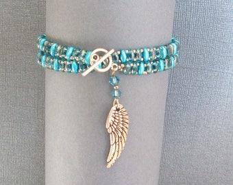 blue beaded wrap bracelet, charm bracelet, teal bracelet, boho bracelet, beaded jewelry, seed bead bracelet, womens bracelet, gift for her