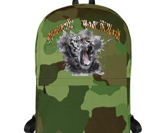 Camoflags backpack wild tiger Backpack for the adventurer laptop inside pocket medium size water resitant
