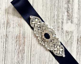 Navy Blue Sash, Navy Bridal Belt, Navy Bridesmaid Sash, Crystal Wedding Sash Belt, Rhinestone Belt Sash, Prom Sash Prom Belt, Wedding Belt