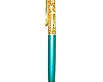 Gold sparkling pen blue