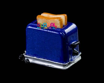Dollhouse Miniatures Metallic Purple Electric Toaster Bread Cooking Machine Breakfast Kitchen Decorating Supply - 1:12 Scale