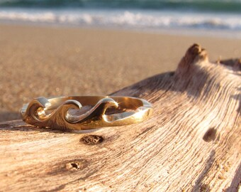 Wave Ring, Gold Wave Ring, Gold Stack Ring, Gold Wedding Ring, Gold Wedding Band, Unique Gold Wedding Ring, Surfing Jewelry