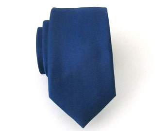 Skinny Tie Dark Blue Skinny Necktie With *FREE* Matching Pocket Square Set