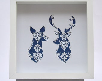 Two Deers silhouette framed picture