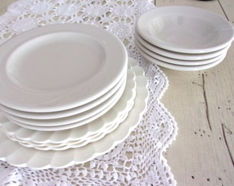 Farmhouse Ironstone Lot, Mix and Match China, Homer Laughlin White Ironstone Bowls, Vintage Ironstone Plates, Wedding Decor