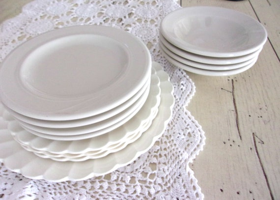 Farmhouse Ironstone Lot, Mix and Match China, Homer Laughlin White Ironstone Bowls, Vintage Ironstone Plates, Wedding Decor