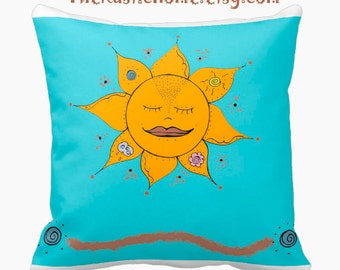 Celestial sunflower toss pillow square 16x16 made to order Mother Nature flowers moon clouds sun