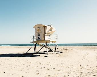 Huntington Beach photograph, lifeguard tower, california decor, beach photography, large wall art, coastal decor, surfer art, cream, aqua