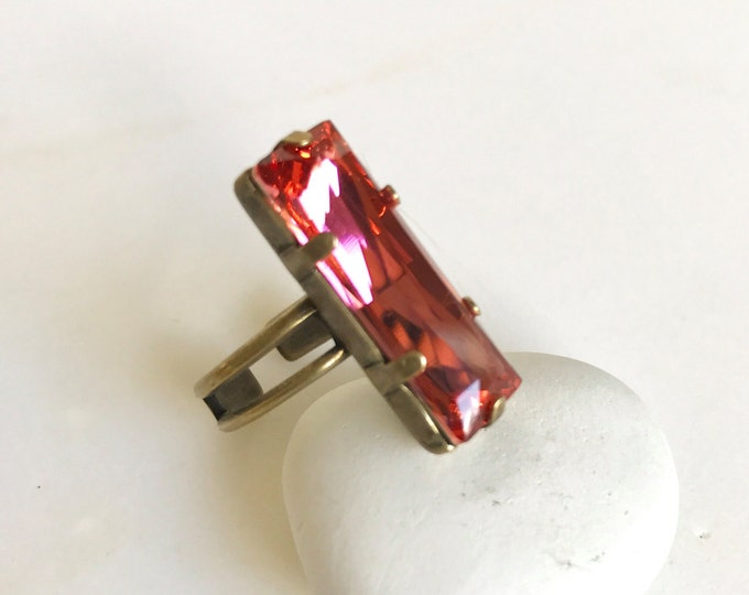Vintage Style Rose Pink Rectangle Ring in Antique Bronze.  Cocktail Ring with Pink Swarovski Crystal. Adjustable Statement Ring.