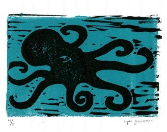 Octopus Linoleum Print Wall Art - Seven-Legged Octopus