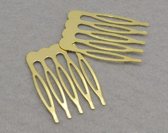 Gold Plated Metal Comb - 10pcs Metal Hair Combs 5 teeth 26x40mm