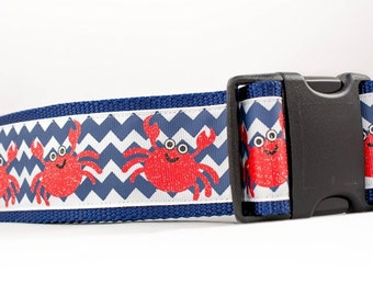 Navy Crab Dog Collar  - 2 inch wide - buckle or martingale - nautical dog collar - summer dog collar - large dog collar - navy blue collar