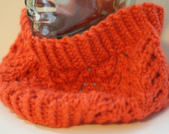 Unisex chunky knitted chevron lace cowl - baby alpaca (orange sparkle)