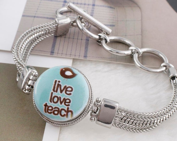Live Love Teach - Teacher Snap - Compatible with Gingersnaps - - Ginger Snaps -  Magnolia and Vine - Noosa 18-20mm Base - Glass Dome