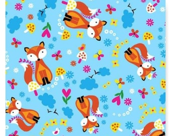 Fabriquilt Fox and Flowers  On Blue Cotton Flannel Fabric