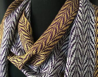 Women's March Handwoven Scarf,  Purple Gold and White Scarf, Hand Woven Scarf, Woven Scarf, Handmade Scarf,