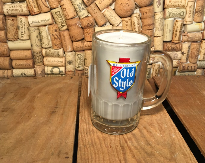 Vintage Old Style Beer Mug with a Leather scented soy candle