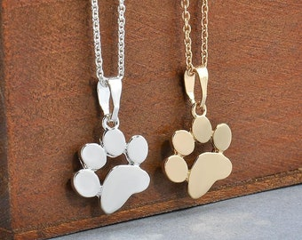 Cute Dog Paw Print Plated Gold Silver Chain Pendant Unisex Necklace Puppy Kitten Dog Cat ,Gift for Pet Lover,Dog Lover,Pet Animal Necklace