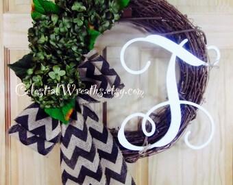 Wreaths - hydrangea wreath - Mothers Day wreath - burlap bow - outdoor wreath - door wreath - housewarming wreath - wedding