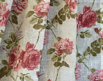 Linen Curtains Cafe Curtains Kitchen Valance Linen  Panels Curtains Shabby Chic Roses