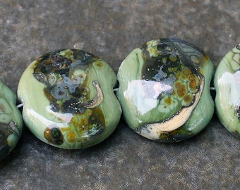 Amazon Lentils- Handmade Lampwork Glass Coin Beads - SRA Elasia