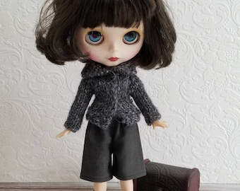 Grey mix Wool Sweater for Blythe- vintage black button, Hand Knit Doll Clothing