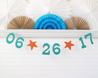 Save the Date Banner - 5 Inch Numbers with Starfish - Beach Bridal Shower Decoration Date Photo Prop Banner Starfish Wedding Beach Wedding