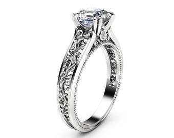 Asscher Moissanite Engagement Ring 14K White Gold Filigree Ring Asscher Engagement Ring