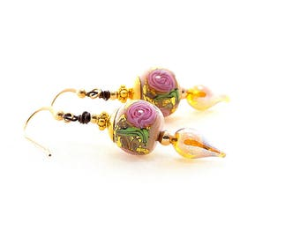 Lavender Lampwork Bead Earrings. Dangle Drop Glass Bead Earrings. Artisan Glass Headpins. Elegant Gifts For Her. Lampwork Bead Jewelry.