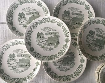 Wayne County Plates Vintage Green and White China Plates USA Royal China Wayne County Dinner Plate Green Transfer ware Countryside China & Wayne County Sauce Bowls Vintage Green and White China USA