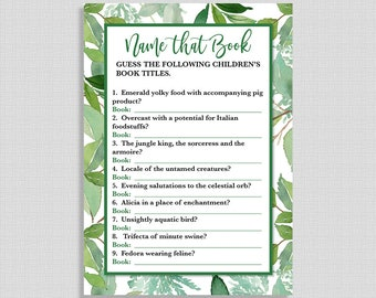 Name That Children's Book Shower Game, Greenery Baby Shower Game, Green Guess the Book, Foliage, INSTANT PRINTABLE