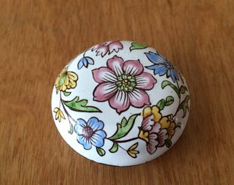 Enamel Trinket Box - White with Pastel Florals Ring Box