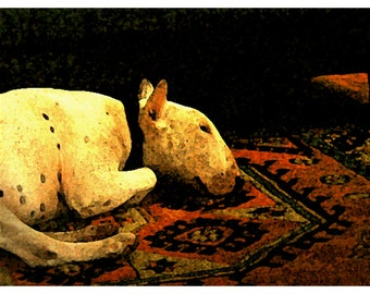 Bull Terrier Digital Print Fireside A5 and A4 sizes