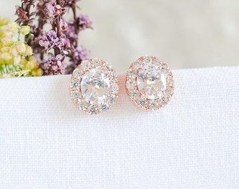 Rose Gold Bridal Earrings, Wedding Earrings, Oval Crystal Earrings, Solitiare Halo Earrings, Wedding Jewelry, Bridesmaids Earrings, EDITH