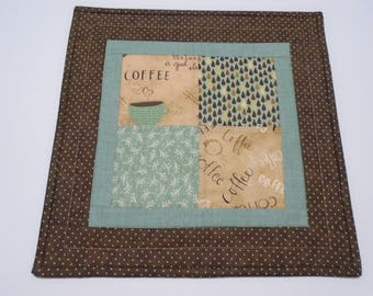 Coffee Quilted Table Topper,  Coffee Lover Quilted Table Runner, Coffee Quilted Table Topper, Coffee Table Quilt, Coffee Quilted Candle Mat