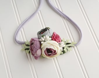 Thistle While You Work - cute floral crown tieback in lilac, lavender, thistle, dusty blue, raspberry pink, cream, white and greenery  (RTS)