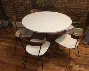 Mid century clifford pascoe modernist dining table and 5 chairs iron - all white rare mccobb style modern
