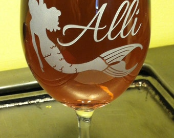 Mermaid large wine glass