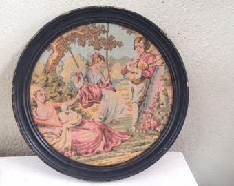 Baroque tapestry framed in a beautiful round wooden patina in black, vintage and shabby chic