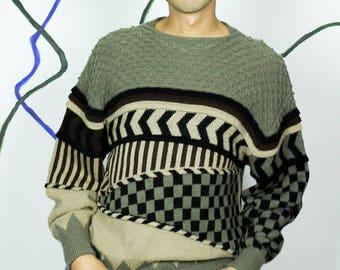 ISSEY MIYAKE 80s Graphic Knit Sweater Size MEDIUM Vintage Gray Japan Knitwear
