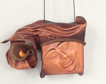 "Leather Purse ""Pursona"" Slide  Face Bag ""Second"", by Einbender Studios in Antique Chocolate with Sculpted Lid"