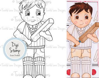 Cricket, Boy Digi Stamps, Colouring Page, Sport, Digital Stamp, Printables, Papercraft Stamps, Game Day, Cricket Clipart, Papercraft, Games