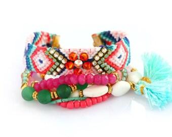 Friendship Bracelet Set,Mexican,Swarovski,Tassel Charm,Jade,Bohemian,Boho Chic,Multiple Strands,Gift For Her
