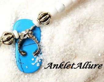 BAREFOOT Beach Anklet FLIP FLOP Ankle Bracelet Blue Anklets for Women Guaranteed