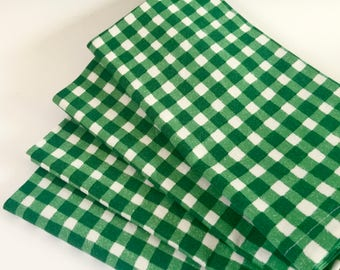 Pine Green Gingham Cloth Napkins, Large Dinner Set of 4. Rustic Christmas Napkins, Winter Cabin Cotton Napkins, Rustic Table Decor.