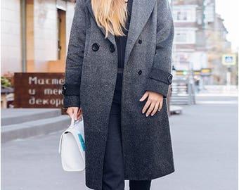 Coat Wool coat Women coats Trench coats for women Grey coat Long coat Double-breasted coat Winter coat A warm coat Women's demi-season coat