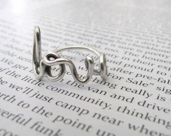 LOVE Ring, Sterling Silver Love Word Ring - Made to Order