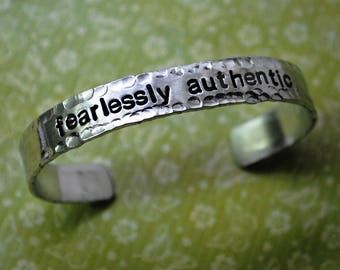 Fearlessly Authentic - Handstamped Hammered Edge Bracelet - Pure 1100 Aluminum