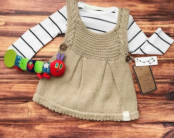 Hand Knit Baby Dress, Baby Girl Dress Knit, Newborn Baby Outfit Coming Home, Baby Photo Outfit, Vegan Baby Clothes, 100% Cotton Baby Dress
