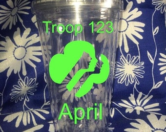 Girl Scout Troop Tumbler, Girl Scout Tumbler, Troup Number Tumbler,